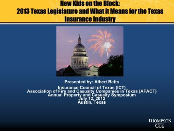 New Kids on the Block - Insurance Council of Texas