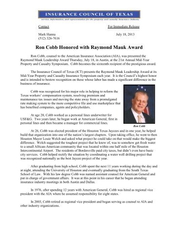 Ron Cobb Honored with Raymond Mauk Award