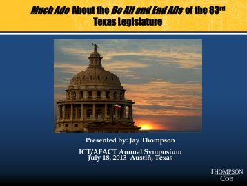About the of the 83 Texas Legislature