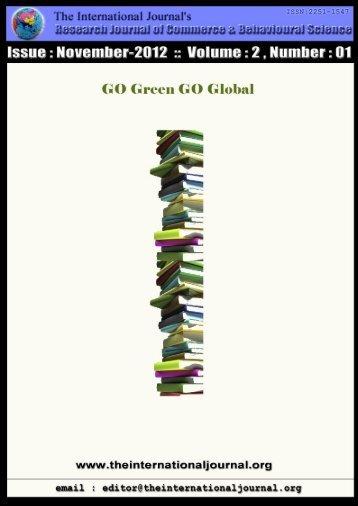 Research Journal of Commerce & Behavioural Science - RJCBS