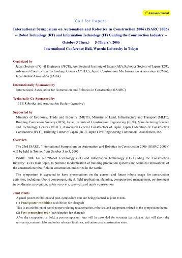 International Symposium on Automation and Robotics in ...