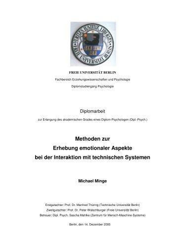 Methoden zur Erhebung emotionaler Aspekte bei der Interaktion mit ...