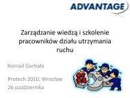 Zarządzanie wiedzą i szkolenie pracowników działu utrzymania ruchu