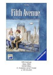 Fifth Avenue Alea 2004 MANZ Wilko 2 - 4 spelers vanaf 12 jaar ± 120 minuten