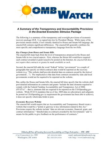 A Summary of the Transparency and Accountability ... - OMB Watch