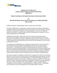 Statement to Senate Committee on Homeland Security ... - OMB Watch