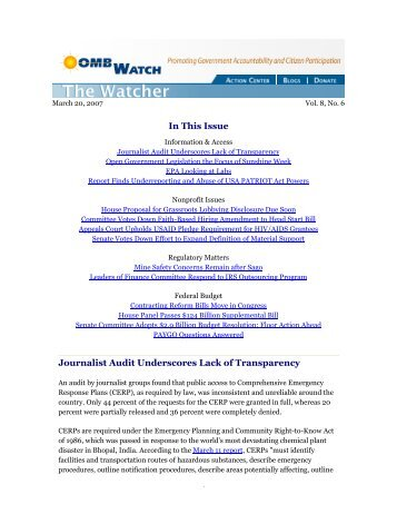 In This Issue Journalist Audit Underscores Lack of Transparency