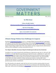 In This Issue Climate Change Policies Face Challenges in Congress