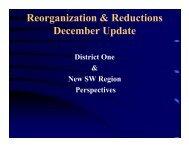 Reorganization & Reductions December Update