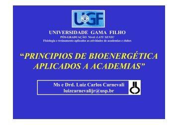 """""""PRINCIPIOS DE BIOENERGÉTICA APLICADOS A ACADEMIAS"""""""