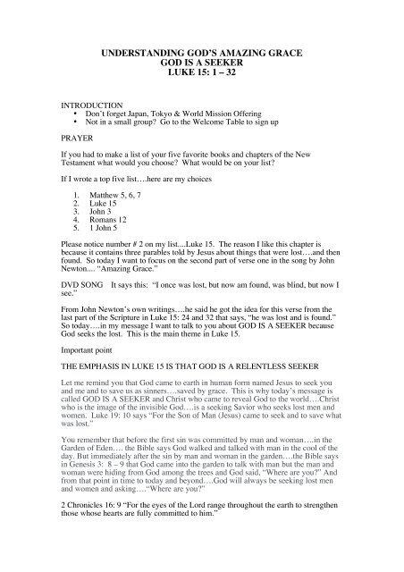 GOD IS A SEEKER LUKE 15 1 – 32