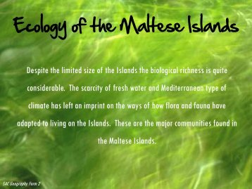 Ecology of the Maltese Islands