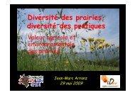 Diversité des prairies diversité des pratiques