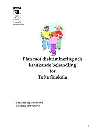 Plan mot diskriminering och kränkande behandling för Tofta förskola