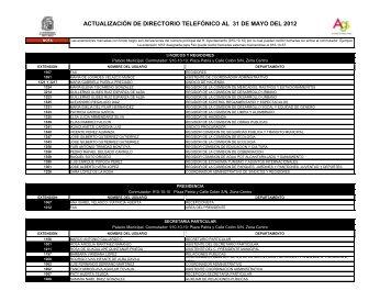 ACTUALIZACIÓN DE DIRECTORIO TELEFÓNICO AL 31 DE MAYO DEL 2012