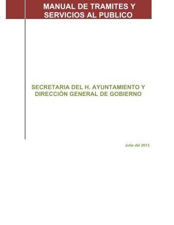 MANUAL DE TRAMITES Y SERVICIOS AL PUBLICO