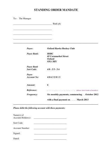 STANDING ORDER MANDATE - Oxford Hawks Hockey Club