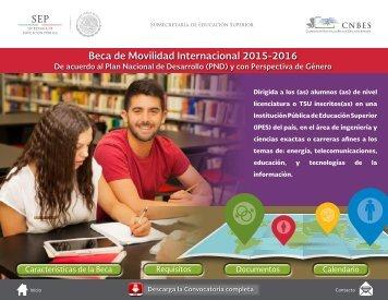 Beca de Movilidad Internacional 2015-2016 y de Técnico Superior Universitario
