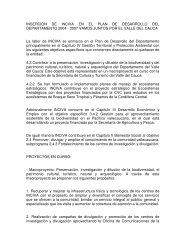INSERCIÓN DE INCIVA EN EL PLAN DE DESARROLLO DEL ...
