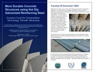 More Durable Concrete Structures using Hot Dip Galvanized Reinforcing Steel
