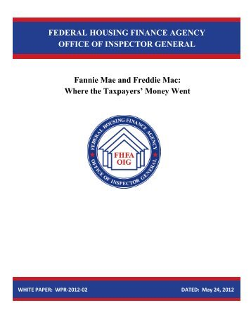 Fannie Mae and Freddie Mac: Where the Taxpayers' Money Went