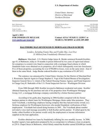 Sentencing of Kenneth Koehler - Federal Housing Financing ...