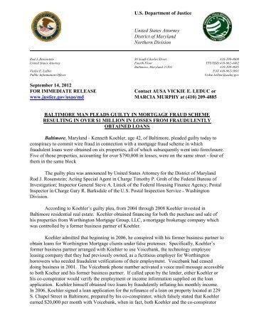Plea of Kenneth Koehler - Federal Housing Financing Agency - OIG
