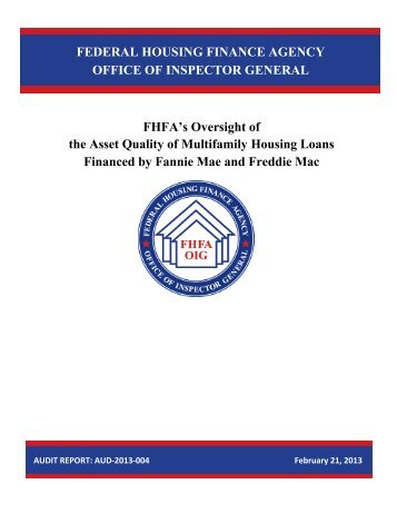 FHFA's Oversight of the Asset Quality of Multifamily Housing Loans ...