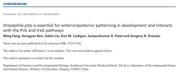 Drosophila ptip is essential for anterior/posterior ... - Development
