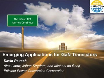 Emerging Applications for GaN Transistors