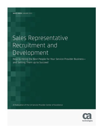 Sales Representative Recruitment and Development