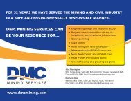 DMC MINING SERVICES CAN BE YOUR RESOURCE FOR…