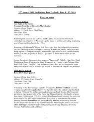 12 Annual 2010 Healdsburg Jazz Festival – June 4 – 13 2010 Program notes