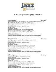 HJF 2012 Sponsorship Opportunities