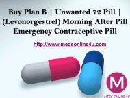 Buy Plan B (Levonorgestrel) Unwanted 72 Pill Online