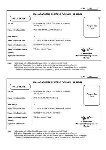 MAHARASHTRA NURSING COUNCIL, MUMBAI HALL TICKET ...