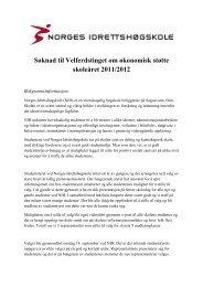 Søknad til Velferdstinget om økonomisk støtte skoleåret 2011/2012