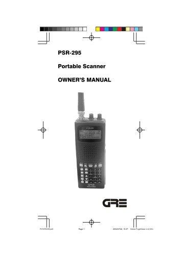 PSR-295 Portable Scanner OWNER'S MANUAL