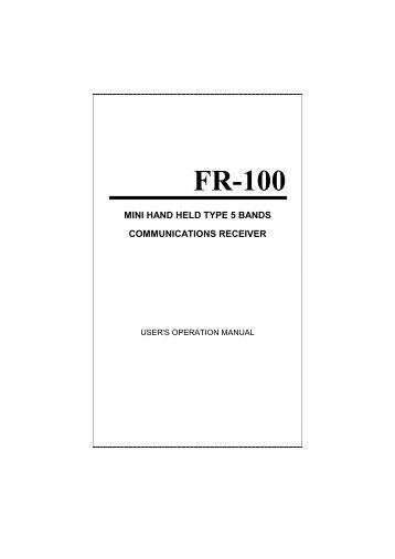 Maycom FR-100 Users operation manual - Radios-UK
