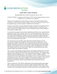 Clean Water Action Testimony