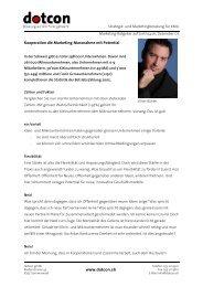 www.dotcon.ch Kooperation die Marketing-Massnahme mit Potential