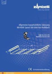 Allgemeine bauaufsichtliche Zulassung RIB-ROOF Speed 500 Gleit-Falz-Profildach