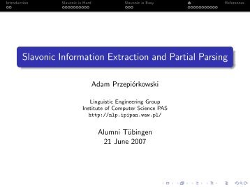 Slavonic Information Extraction and Partial Parsing
