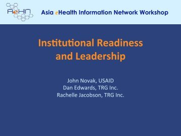Ins%tu%onal Readiness and Leadership