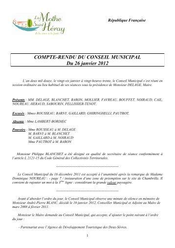 COMPTE-RENDU DU CONSEIL MUNICIPAL Du 26 janvier 2012
