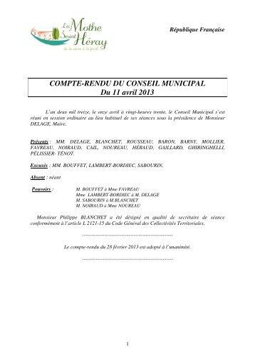 COMPTE-RENDU DU CONSEIL MUNICIPAL Du 11 avril 2013