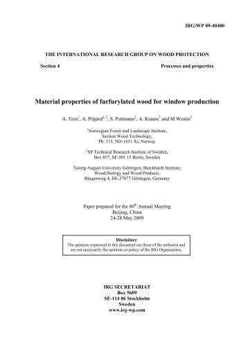 Material properties of furfurylated wood for ... - Skog og landskap