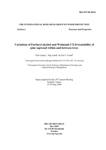 Variations of Furfuryl alcohol and Wolmanit CX ... - Skog og landskap