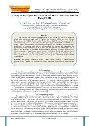 A Study on Biological Treatment of Bio-Diesel Industrial Effluent Using FBBR