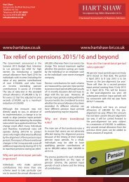 Tax relief on pensions 2015/16 and beyond